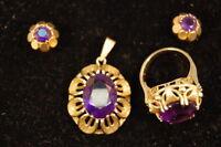 Schmuckset Anhänger, Ring mit Amethyst Gelbgold, 585 sehr guter Zustand