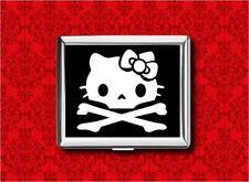 HELLO SKULL CROSSBONES KITTY CAT METAL WALLET CARD CIGARETTE ID IPOD CASE