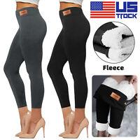 Winter Warm Leggings Pants Fleece Velvet Pants Lined Thick Thermal Slim Women US