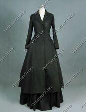 Victorian Gothic Steampunk Black Coat Dress Women Punk Cosplay Costume C002 Xxl