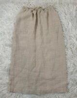 VTG Ralph Ralph Lauren Blue Label Skirt Drawstring 100% Linen Beige Long Sz 12