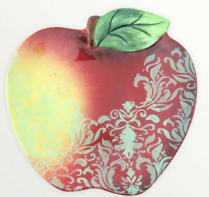 Certified International Rustic Fruit Apple Shaped Decor Plate Homme Accent