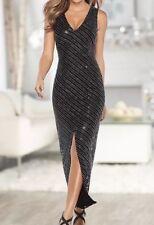 Venus Womens Multi Sequin V Neck Front Slit Cocktail Party Black Dress Size 4
