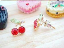 Cereza Rojo Rhinestone Cristal espárragos pendientes de estilo vintage y retro de moda Reino Unido Stud Regalo