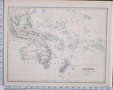 1889 Grande Antico MAP ~ OCEANIA Micronesia AUSTRALIA POLINESIA Borneo Sumatra