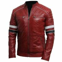 Men Cafe Racer Maroon Retro Biker Style Stripes Real Leather Jacket - All Sizes