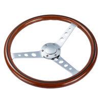 6 Bolt 15''/380mm Wood Grain Trim Classic Chrome Spoke Steering Wheel Wooden New