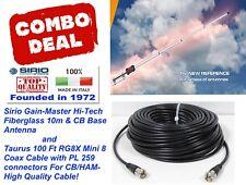 Sirio Gain-Master Fiberglass 5/8 wave 10m & CB Base Antenna w/100 Ft Coax Cable