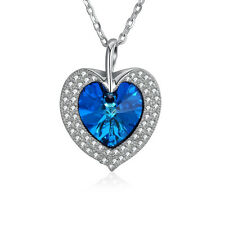 Element Blue Beads Heart Pendant Necklace Jewelry 925 Sterling Silver Necklace