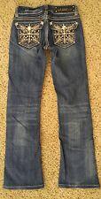L.A. IDOL Jeans Sz 0 W26 Embellished Rhinestone Crystals Studded Flap Pockets