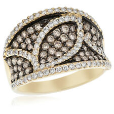 14K Yellow Gold Pave Brown Champagne Cognac Diamond Right Hand Cocktail Ring