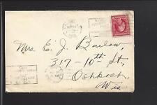 LOS ANGELES,CALIFORNIA 1912 EXPO CANCEL COVER TO OSHKOSH,WISCONSIN.