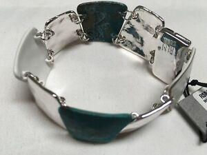 """Robert Lee Morris Blue White Paint Hammer Silver Plated Bracelet 7-1/2"""" NEW RM22"""