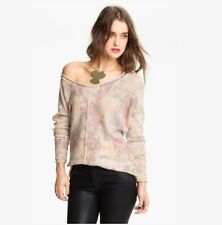 Free People Womens size M Hi Lo Sweater Floral Flower Bomb Wool Angora Boat Neck