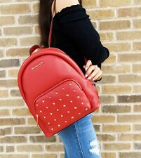 Michael Kors Erin Medium Gold Studded Abbey Backpack Flame Red Studded Leather