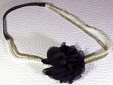 Women's Black Silk Flower Elastic Hairband Headband w gold tone chain & pearls