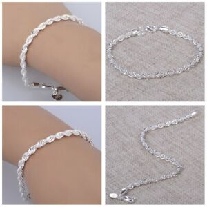 Stainless Steel 6mm Silver Plated Simple Twisted Rope Hand Chain Bracelet Gift