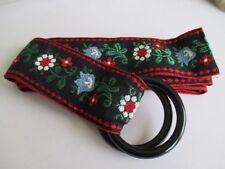 handmade woman's ladies girl's ribbon belt black green leaves red white flowers