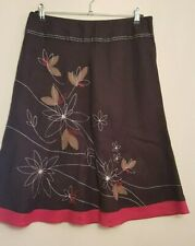 Ref 613 - TU Ladies Womens Girls Brown & Pink Floral Summer Linen Skirt Size 14