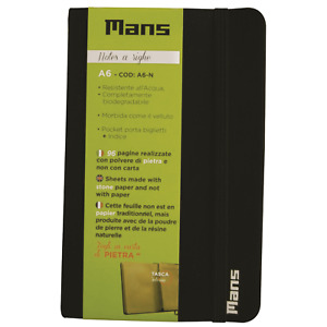 Mans Quaderno Notes a righe Block Notes Water Resistent Biodegradabili A6