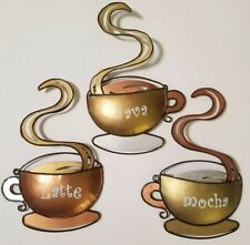 Set of 3 Metal Coffee Themed Wall Decor Plaques