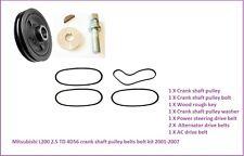 L200 2.5TD Pick Up 4D56 Crankshaft Pulley+Belts+Bolt+Washer+Wood Rough Key 96-01