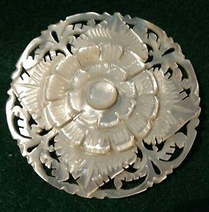 """Vintage Bethlehem Pearl Button, Large Carved Flower design, 2 1/8"""""""