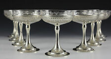 9pc Set Gorham Sterling Silver Glass Lined Compotes in Gadroon Late 19th Century
