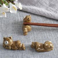 2X Bear Chopstick Rest Holder Ceramic Rack Fork Knives Spoon Stand Home Decor
