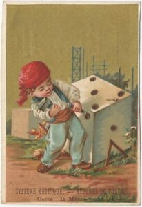 Humorous Belgian Child Chisels Dice Perfume & Lingerie Surreal Trade Card