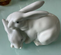 Vintage 2 Bunnies Rabbits Porcelain Family Figure By Golden Crown E&R W Germany