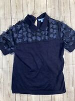 Draper James Womens Blouse Navy Blue Size M Floral Collared Fleurette $115