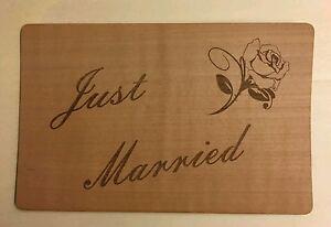 """Grußkarte aus Holz Geschenkkarte  Karte """" just married """" Umschlag Hochzeit Rose"""