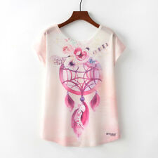 Harajuku Women Print Bat Sleeve T-Shirts Summer Casual Loose Lovely Tops Blouse