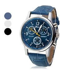 Fashion Men's PU Leather Band Round Dial Luxury Quartz Wrist Watches Blue Black