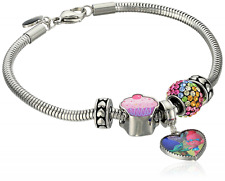 "Trolls Stainless Steel ""Hug Time"" Heart Charm, Crystal Bead and Cupcake Bundle w"