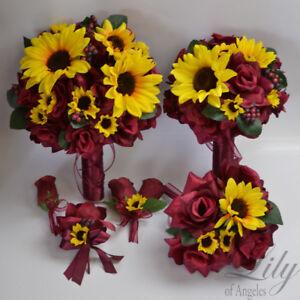 17 Piece Package Wedding Bridal Bouquet Silk Flower SUNFLOWER BURGUNDY YELLOW