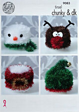 KNITTING PATTERN Toilet Roll Covers - Xmas 4 Styles Tinsel Chunky KIng Cole 9083