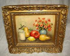 Original Miniature Oil Painting Still Life Fruit & Flowers LOUIS PEYRAT French
