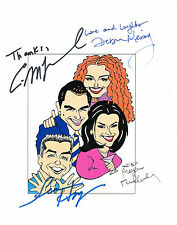 Will & Grace CAST SIGNED 8.5x11 Cartoon Mullally Hayes McCormack Messing COA