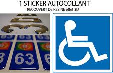 1 Autocollant Sticker VOITURE HANDICAPÉ recouvert de resine doming 3D 10X10CM