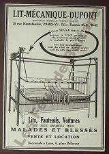 Publicité ancienne Lit mecanique  Dupont , fauteuils blessés, 1934  advert