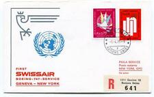 FFC 1971 Swissair First Flight Boeing 747 Geneva New York GPO REGISTERED Onu