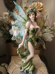 "11"" Fairyland Legends Green Earth Forest Flower Fairy Figurine Pacific Giftware"