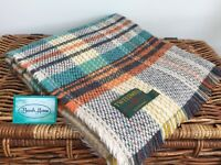 TWEEDMILL TEXTILE RECYCLED WOOL  ORANGE TURQUOISE TARTAN CHECK BLANKET THROW RUG