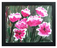 Abstract Acrylic Palette Knife Painting of Flowers 8x10 Linen Fast Free Delivery