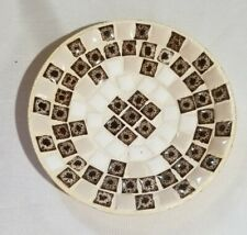 "Vintage Mosaic Brown Ivory Plate Gold Back, 5""D"