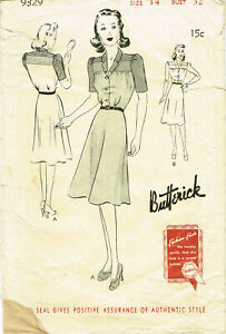 1930s 1940s Vintage Butterick 9329 Sewing Pattern Darling Double Stacked Yoke