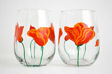 California Poppy Stemless Wine Glasses - Hand Painted Wine Glasses - Mothers Day