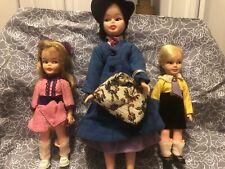 "Vintage 1964 Horsman Disney Mary Poppins 12"" Doll w/Bag, Michael & Jane, Clothes"